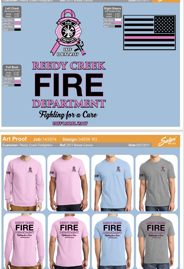 Reedy Creek Fire Rescue Breast Cancer Awareness Shirts